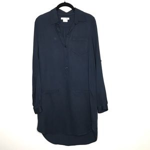 Lacoste Navy Blue Shirt Dress Tab Loop Sleeve 36
